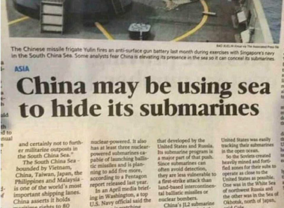 Hiding submarines in the sea? Cunning! 😀