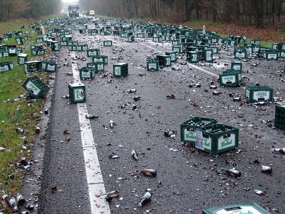 Beers all over the road
