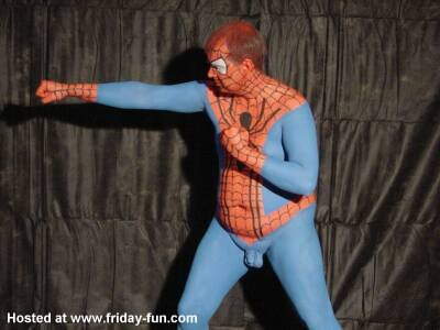Spiderman improvising when his costume is in the wash!