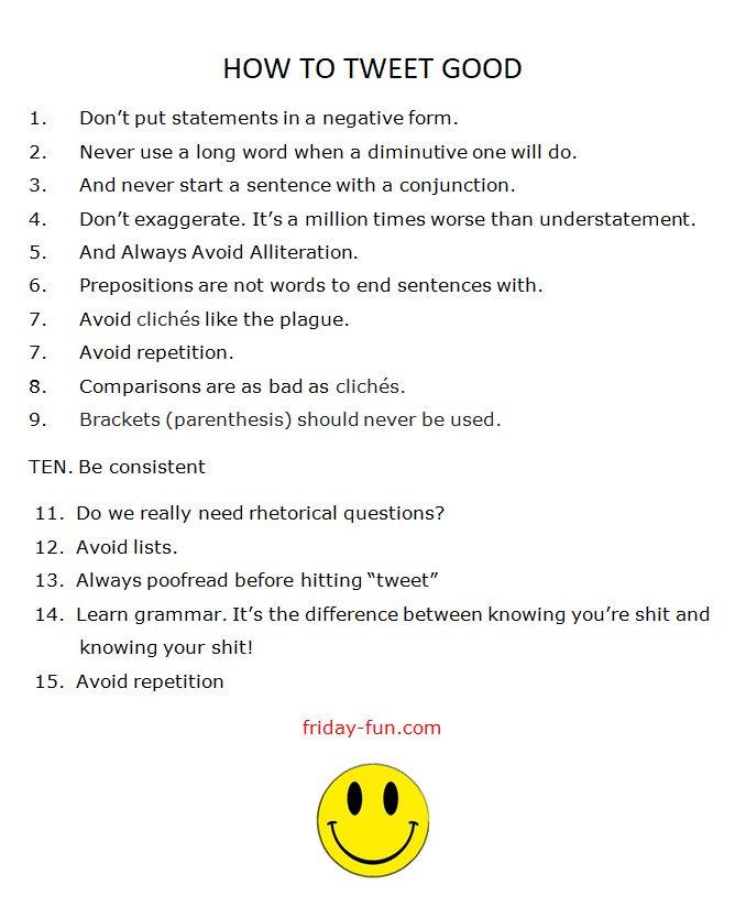 How to tweet good! 😀