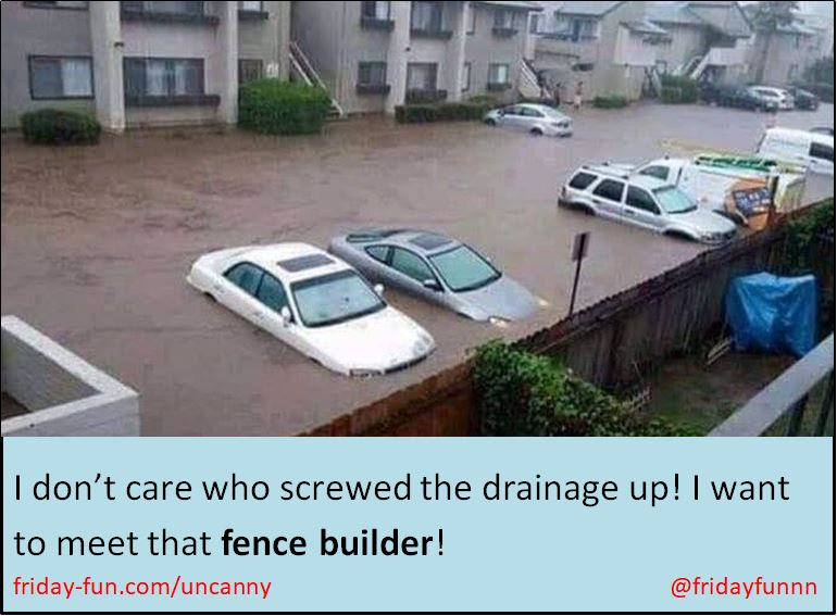 I don't care who screwed the drainage up! I want to meet that FENCE builder! 😀
