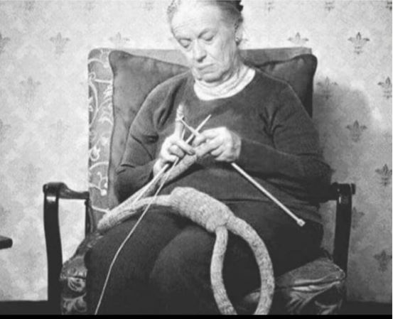 Quarantined with hubby for 2 weeks, Gertrude is knitting him something special! 😀