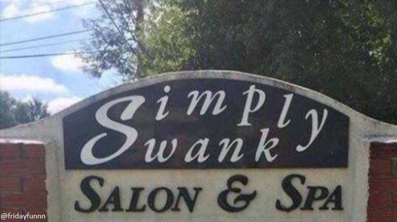 Simply Swanky might want to rethink this sign! 😀